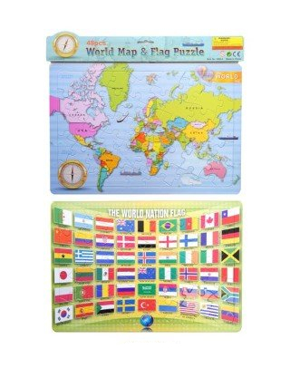 48 Pcs Jigsaw World Map & Flag Puzzle Set
