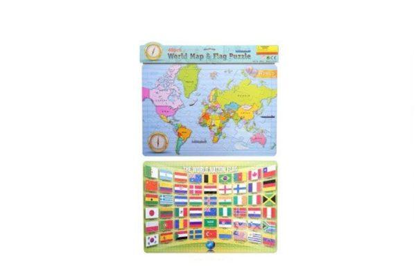 48 Pcs Jigsaw World Map & Flag Puzzle Set