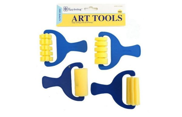 4pcs Sponge Patterned Roller Set