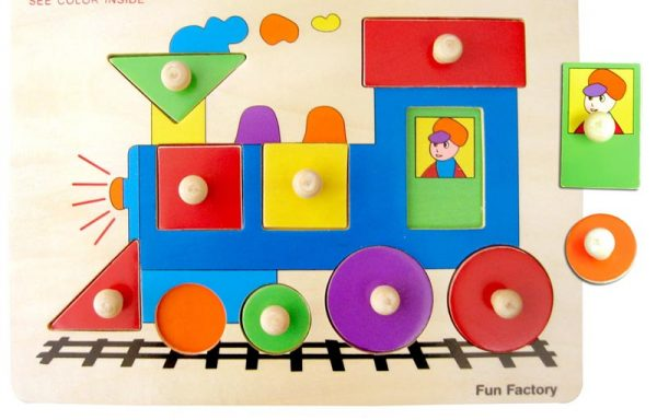 Train Peg Puzzle with Knobs