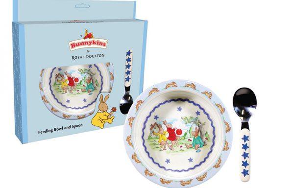 Bunnykins Feeding Bowl & Spoon – Shining Stars Design Blue