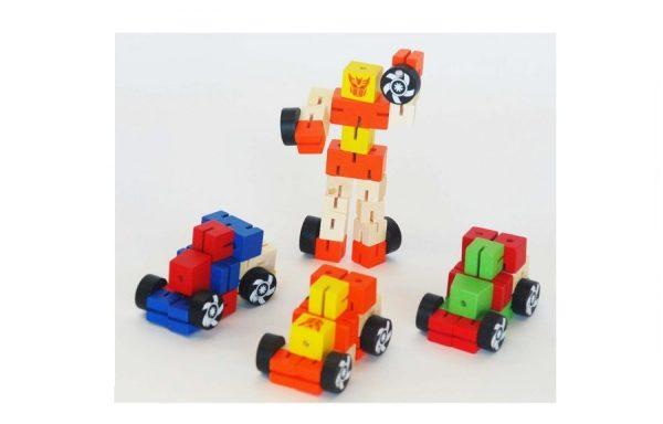 Mini Wooden Transformer Orange & Yellow