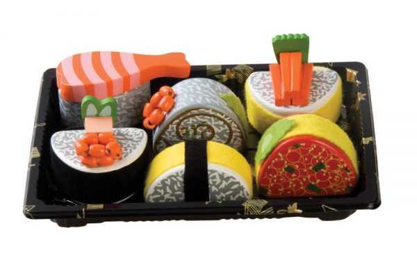 Wooden Sushi Plastic Tray Play Set