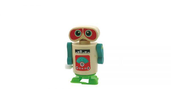 Wooden Clockwork Walking Robot Green