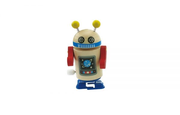 Wooden Clockwork Walking Robot Blue