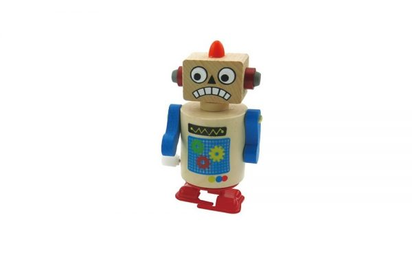 Wooden Clockwork Walking Robot Red