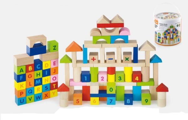 Alphabet & Numbers Wooden Blocks Set – 100pcs
