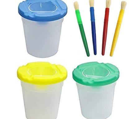 7 PCS Non-Spill Paint Pot and Paint Brushes