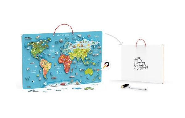 Magnetic World Puzzle with Whiteboard Marker