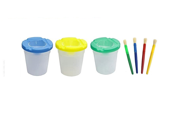 7 PCS Non-Spill Paint Pot and Paint Brushes