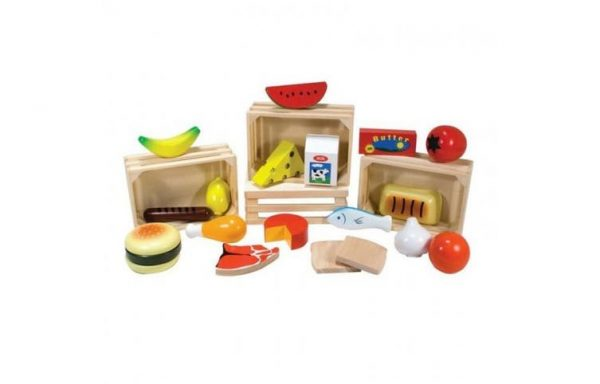 Wooden Pretend Play Toys Food Box 4 in 1