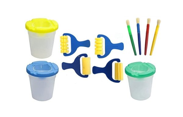 11 PCS Non-Spill Paint Pot and Paint Brushes