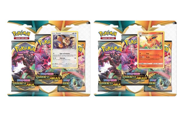 POKEMON TCG  Sword and Shield Darkness Ablaze Three Booster Blister Eevee and Jolteon