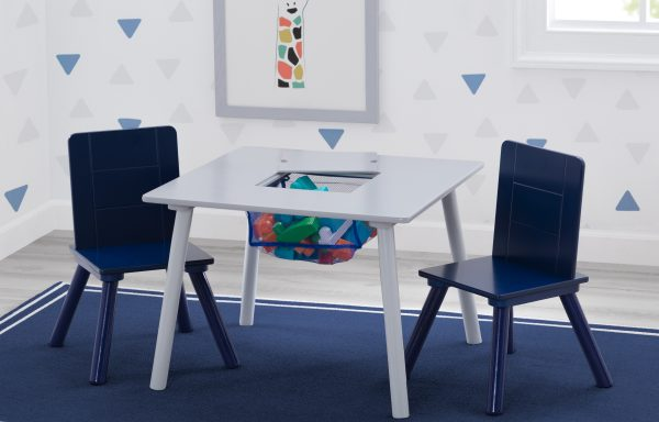 Storage Table and Chair Set – Grey / Blue