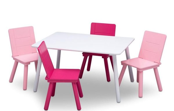 Kids Table and 4 Chair Set – White/Pink