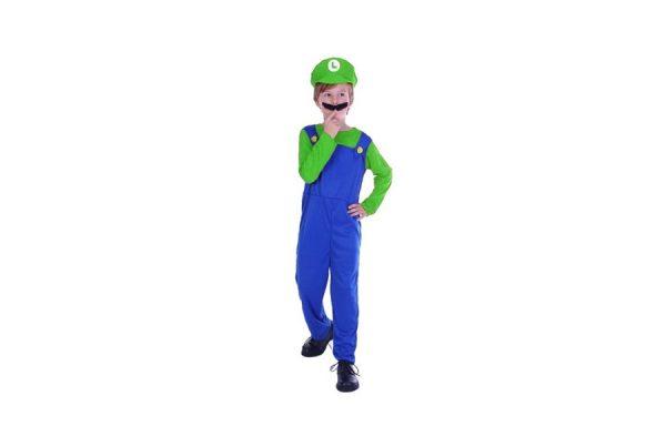 Small Plumber Boy Luigi Boys Gaming Character Costume