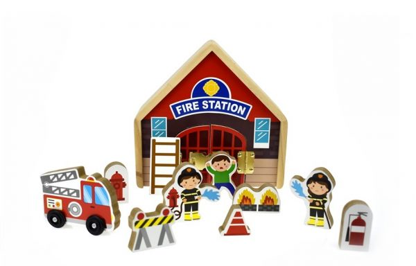 Metal Latch Playset Fire Station