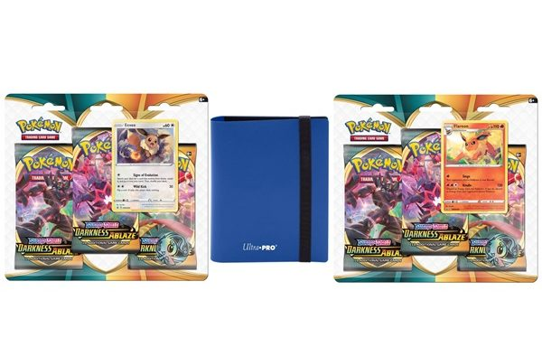 POKÉMON TCG Sword and Shield Darkness Ablaze Three Booster Blister and ULTRA PRO 2PKT